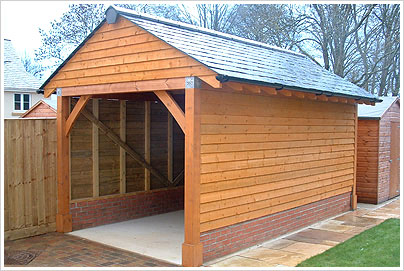 Single Garage Oak Frame Style